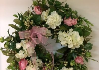 Hydrangea Wreath in Seams Like Home bed and breakfast